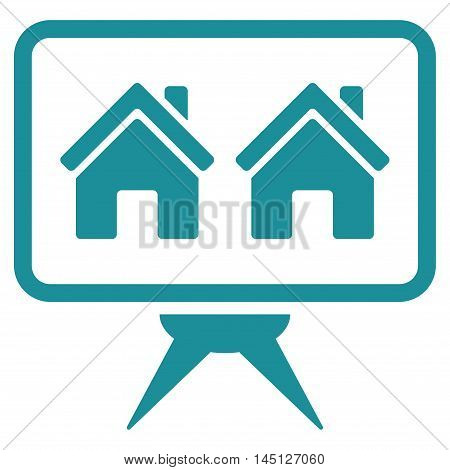 Realty Project icon. Vector style is flat iconic symbol, soft blue color, white background.