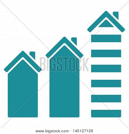 Realty Trend icon. Vector style is flat iconic symbol, soft blue color, white background.
