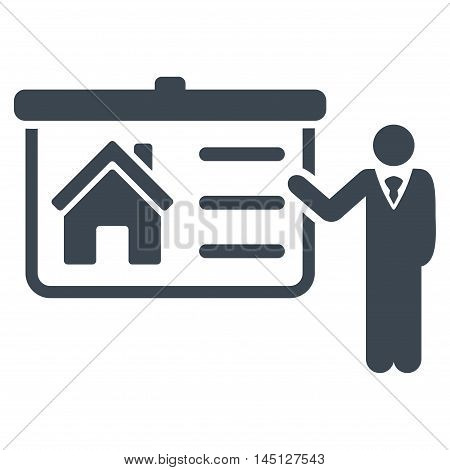 House Presentation icon. Vector style is flat iconic symbol, smooth blue color, white background.
