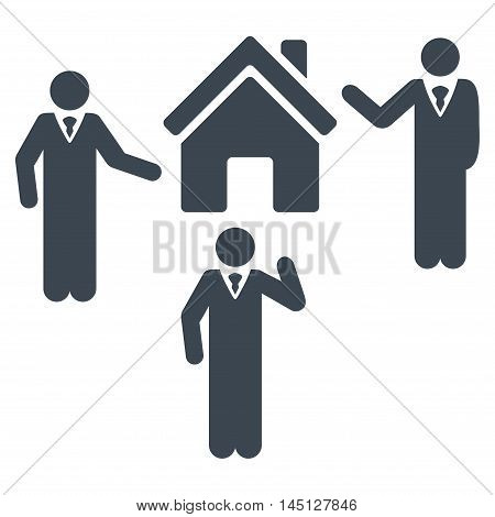Realty Discuss Persons icon. Vector style is flat iconic symbol, smooth blue color, white background.