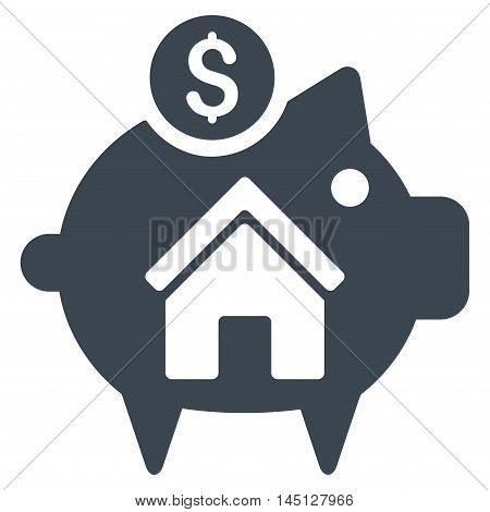 Realty Piggy Bank icon. Vector style is flat iconic symbol, smooth blue color, white background.