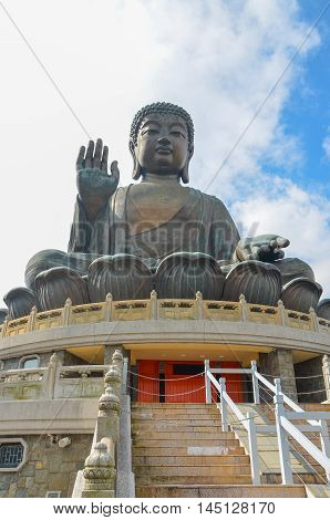The enormous Tian Tan Buddha at Po Lin Monastery in Hong Kong.