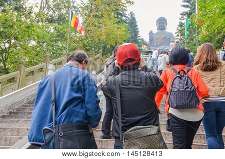 HONG KONGHONG KONG - December 8 2013:Tian Tan Giant Buddha from Po Lin Monastery Lantau Island in Hong Kong