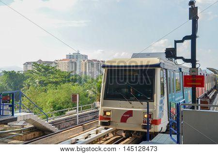 Kuala Lumpur Malaysia - October 4 2013:A Rapid KL LRT Metro Train in Kuala Lumpur Malaysia