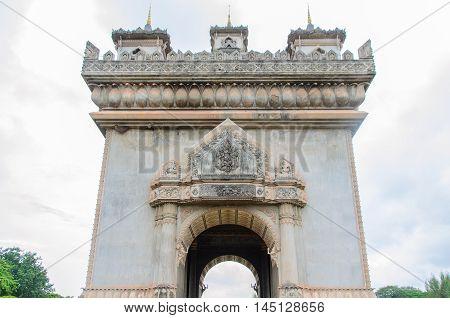 Patuxai a memorial monument in Vientiane Laos
