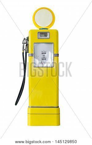 Vintage Yellow Fuel Pump On White