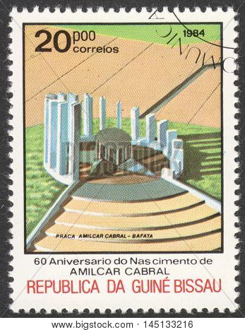MOSCOW RUSSIA - CIRCA AUGUST 2016: a stamp printed in GUINEA-BISSAU shows the Amilcar Cabral monument the series