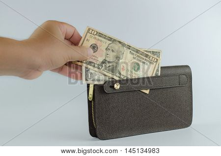 Handle brown man purse dollar isolated on white background