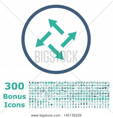 Centrifugal Arrows rounded icon with 300 bonus icons. Glyph illustration style is flat iconic bicolor symbols, cobalt and cyan colors, white background.