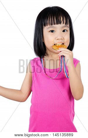 Asian Chinese Little Girl Biting Gold Medal