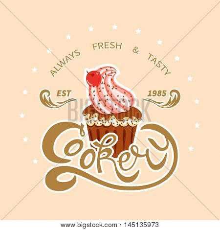 Template poster for cooking.Cupcake and exclusive lettering Cookery