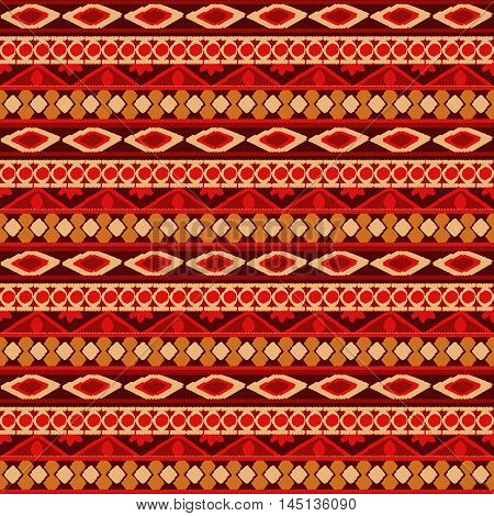 Striped hand painted seamless pattern with ethnic and tribal motifs zigzag lines in multiple bright colors for textile