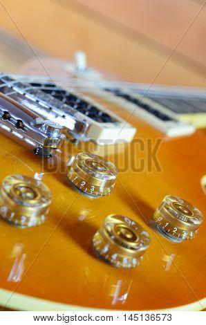 Electric guitar lespaul instrument  music close up