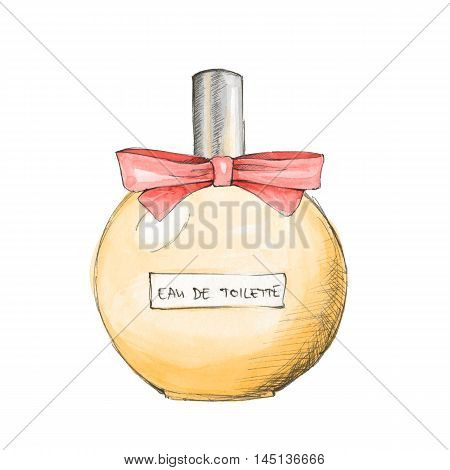 Bottle of perfume. Ink and watercolor sketch 12 Isolated on white background
