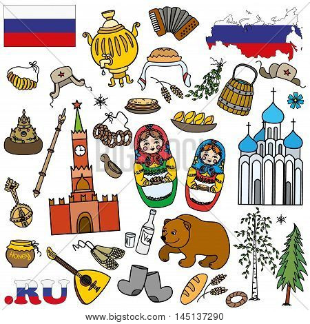 Set icons or objectselements.Russian symbols travel Russia Russian traditions. Set of colorful flat style design . Vector illustration.