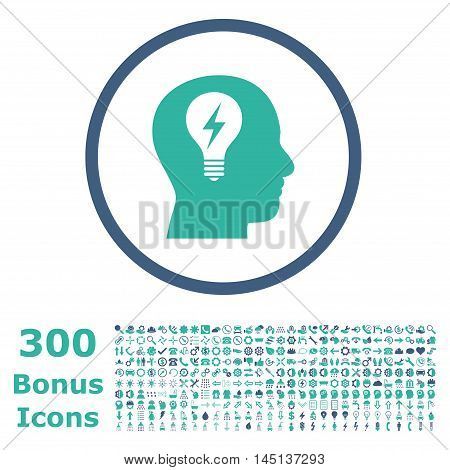 Head Bulb rounded icon with 300 bonus icons. Glyph illustration style is flat iconic bicolor symbols, cobalt and cyan colors, white background.