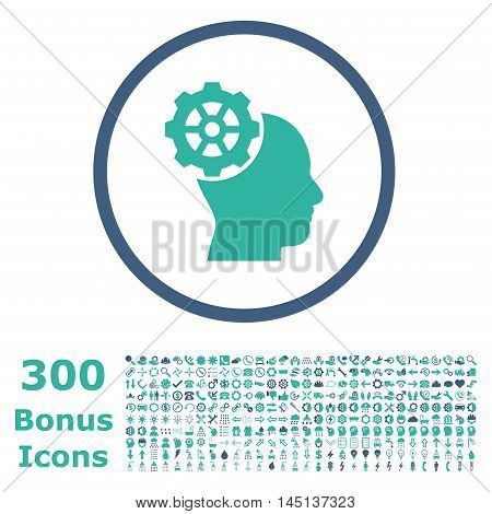 Head Gear rounded icon with 300 bonus icons. Glyph illustration style is flat iconic bicolor symbols, cobalt and cyan colors, white background.