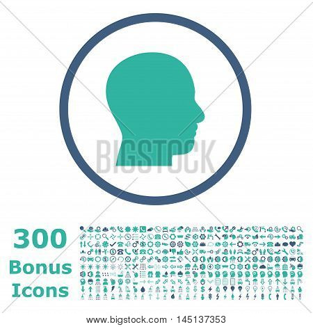 Head Profile rounded icon with 300 bonus icons. Glyph illustration style is flat iconic bicolor symbols, cobalt and cyan colors, white background.