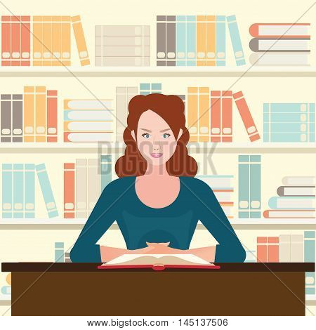 Woman reading book on desk book on shelves background library or book store flat design vector illustration.