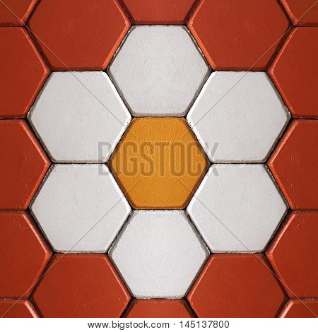 The colorful bricks floor on background texture