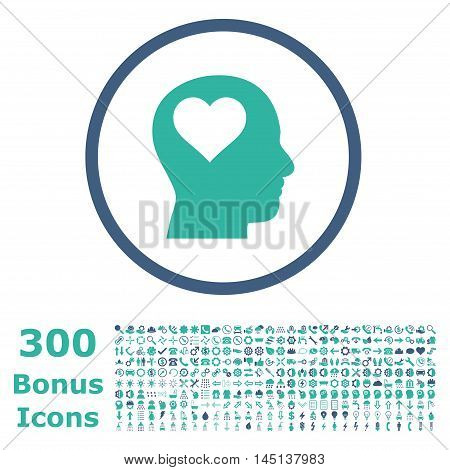 Lover Head rounded icon with 300 bonus icons. Glyph illustration style is flat iconic bicolor symbols, cobalt and cyan colors, white background.