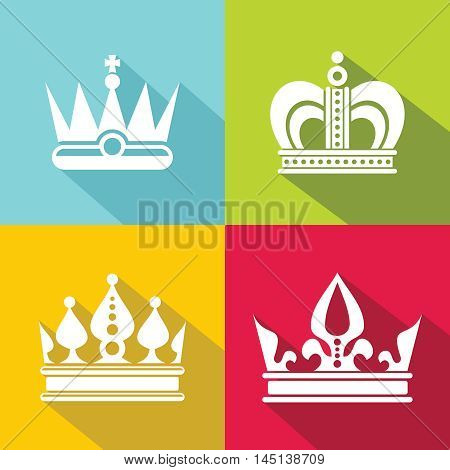 White crown icons on color background. Element for prince or queen. Vector illustration