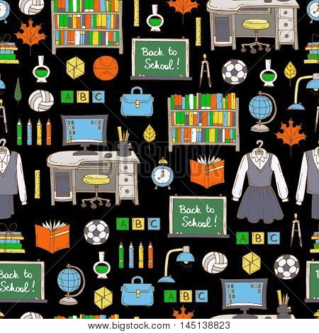 Vector seamless pattern with hand drawn colored symbols of school and university on black color. Pattern on the theme of education back to school. Background for use in design, packing, web site, fabric