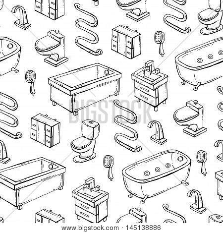 Vector seamless pattern with hand drawn isolated bathroom equipment on white color. Pattern on the theme of interiors. Background for use in design, packing, web site, fabric