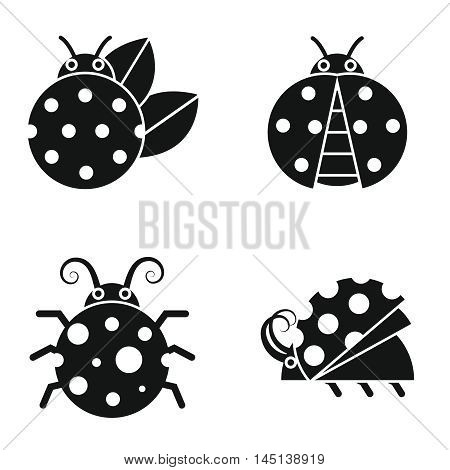 Black silhouette ladybugs on white background. Ladybug in monochrome style. Vector illustration