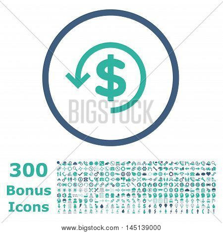 Refund rounded icon with 300 bonus icons. Glyph illustration style is flat iconic bicolor symbols, cobalt and cyan colors, white background.
