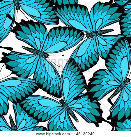 seamless pattern from butterflies. Vector butterfly. Butterfly Papilio blumei. Blue Mountain Swallowtail Butterfly