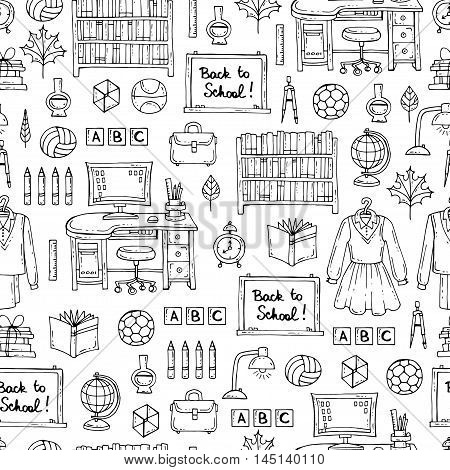 Vector seamless pattern with hand drawn symbols of school and university on white color. Pattern on the theme of education back to school. Background for use in design, packing, web site, fabric