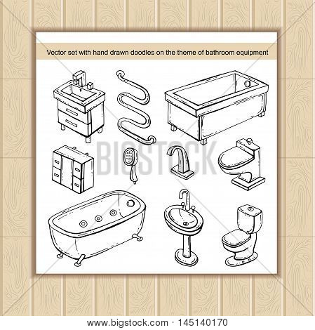 Vector set with hand drawn isolated doodles on the theme of bathroom equipment. Sketches for use in design