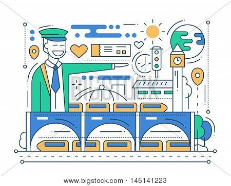 Railway station - vector modern line flat design city composition with station master