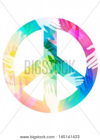 Double Exposure Illustration of Hands Inside a Peace Sign - eps10