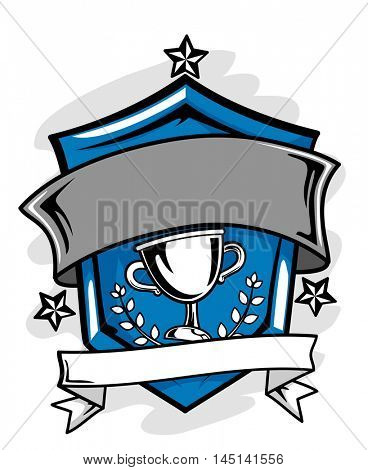 Illustration of a Sports Crest with a Blank Ribbon Below