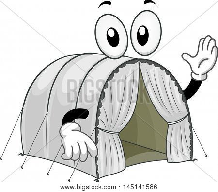 Mascot Illustration of a Tent at a Refugee Camp