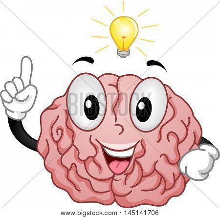 Mascot Illustration of a Brain Having a Light Bulb Moment
