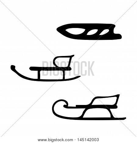 Winter. Sled. Hand drawn vector set of three sleds