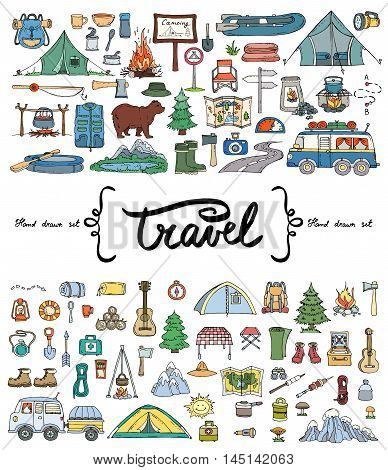 Vector set with hand drawn colored doodles on the theme of tourism. Flat illustrations of objects for tourism and travel. Sketches for use in design