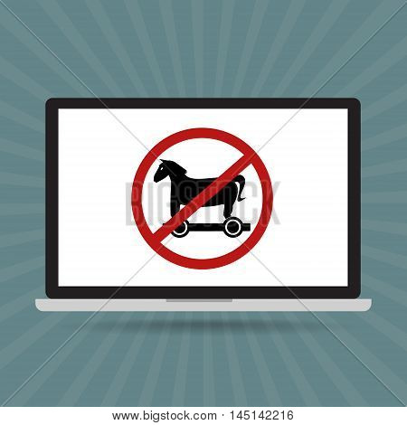 No trojan horse malware virus computer allow restrict sign isolated on computer laptop. Vector illustration technology data privacy and security concept.
