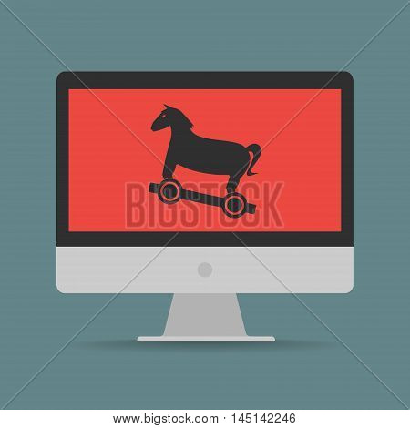 Trojan horse malware computer virus on computer. Vector illustration technology data privacy and security concept.