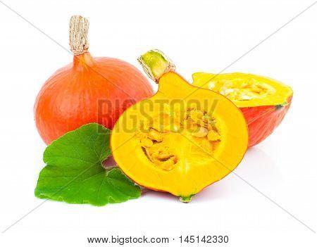 autumn yellow pumpkin isolated on white background