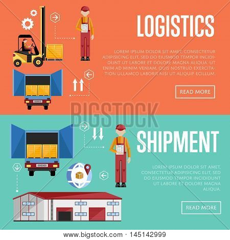 Shipment and logistic banners set vector illustration. Warehouse process infographics. Porter on a truck to ship the goods. Warehouse management concept. Flat design illustration.