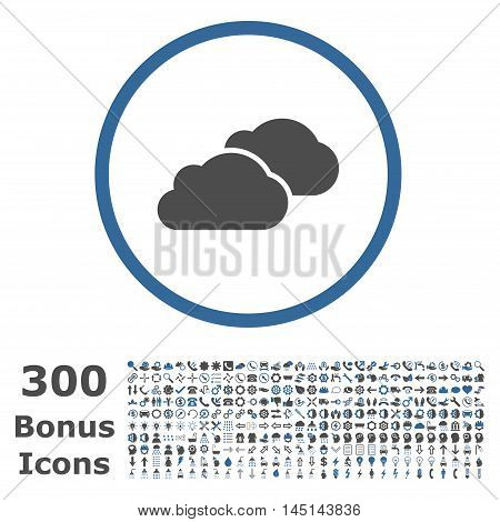 Clouds rounded icon with 300 bonus icons. Glyph illustration style is flat iconic bicolor symbols, cobalt and gray colors, white background.