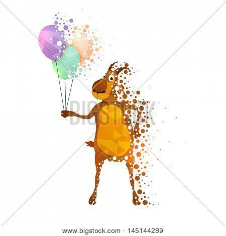 Funny illustration of a Goat holding colorful balloons for Muslim Community, Festival of Sacrifice, Eid-Al-Adha Mubarak.