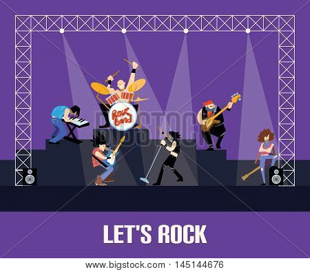 Rock concert with rock musicians on stage vector illustration