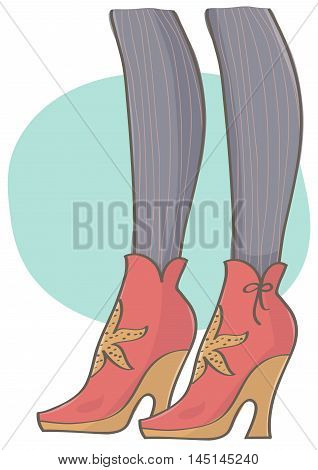 Colorful illustration of platform heel woman boots. Legs with cute, pink boots and striped stockings.