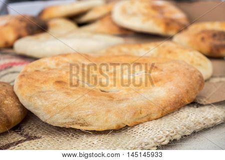 Tradition arabic bread - Pita, sold at farmers market
