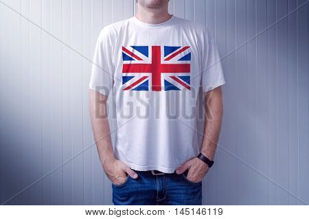 Man wearing white shirt with United Kingdom flag print adult male person supporting Great Britain